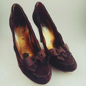 BCBG MaxAzria Brown Suede Loafer Heels 8